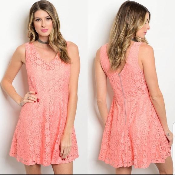 New! Double V-neck Lace Dress